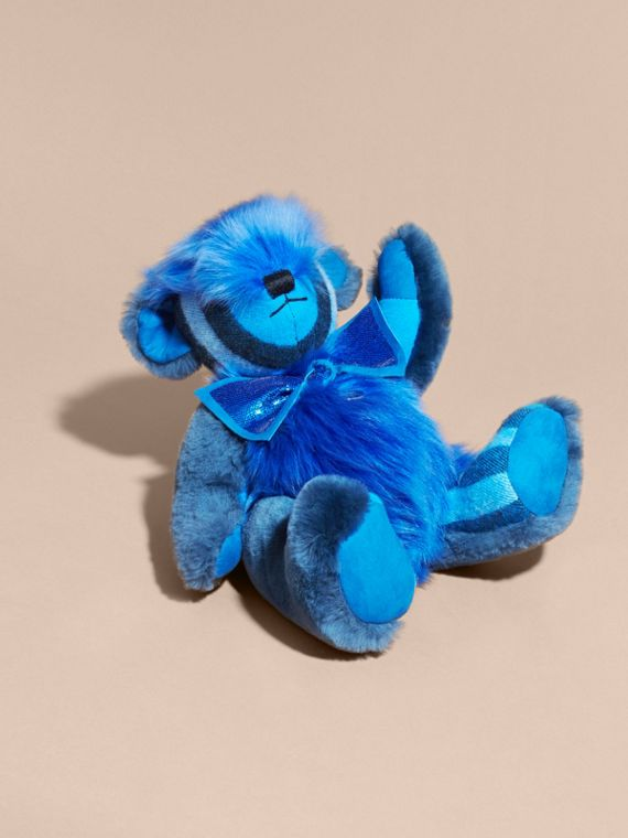 Bright cornflower blue Pom-Pom Thomas Bear in Shearling and Check Cashmere Bright Cornflower Blue - cell image 2