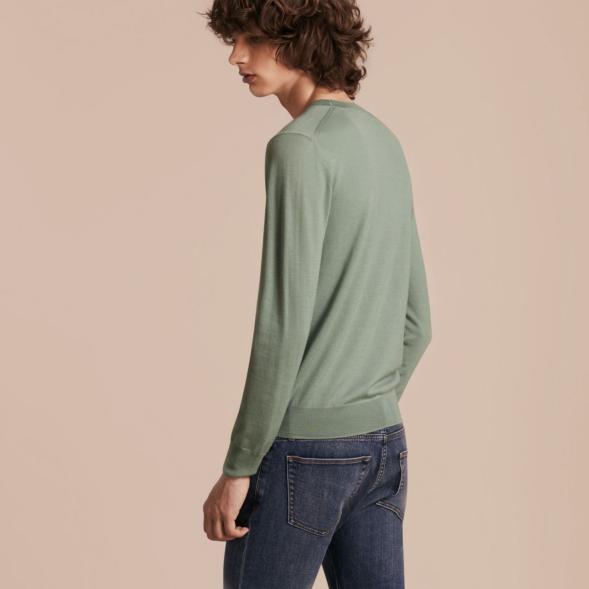 Eucalyptus green Crew Neck Merino Wool Sweater Eucalyptus Green - gallery image 3