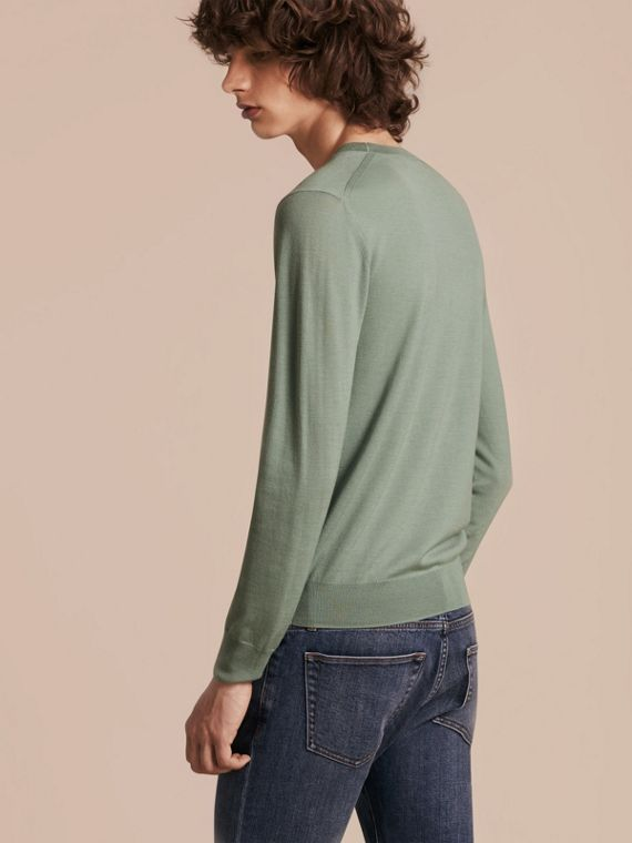 Eucalyptus green Crew Neck Merino Wool Sweater Eucalyptus Green - cell image 2