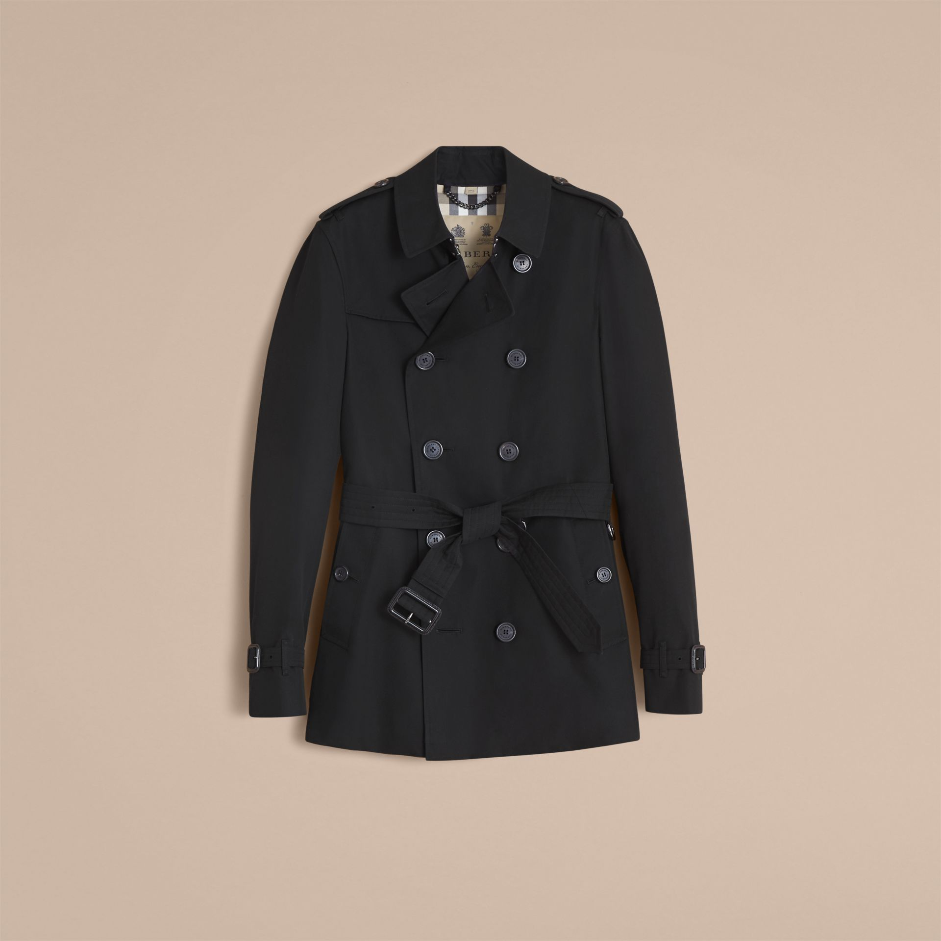 Black The Chelsea – Short Heritage Trench Coat Black - gallery image 5