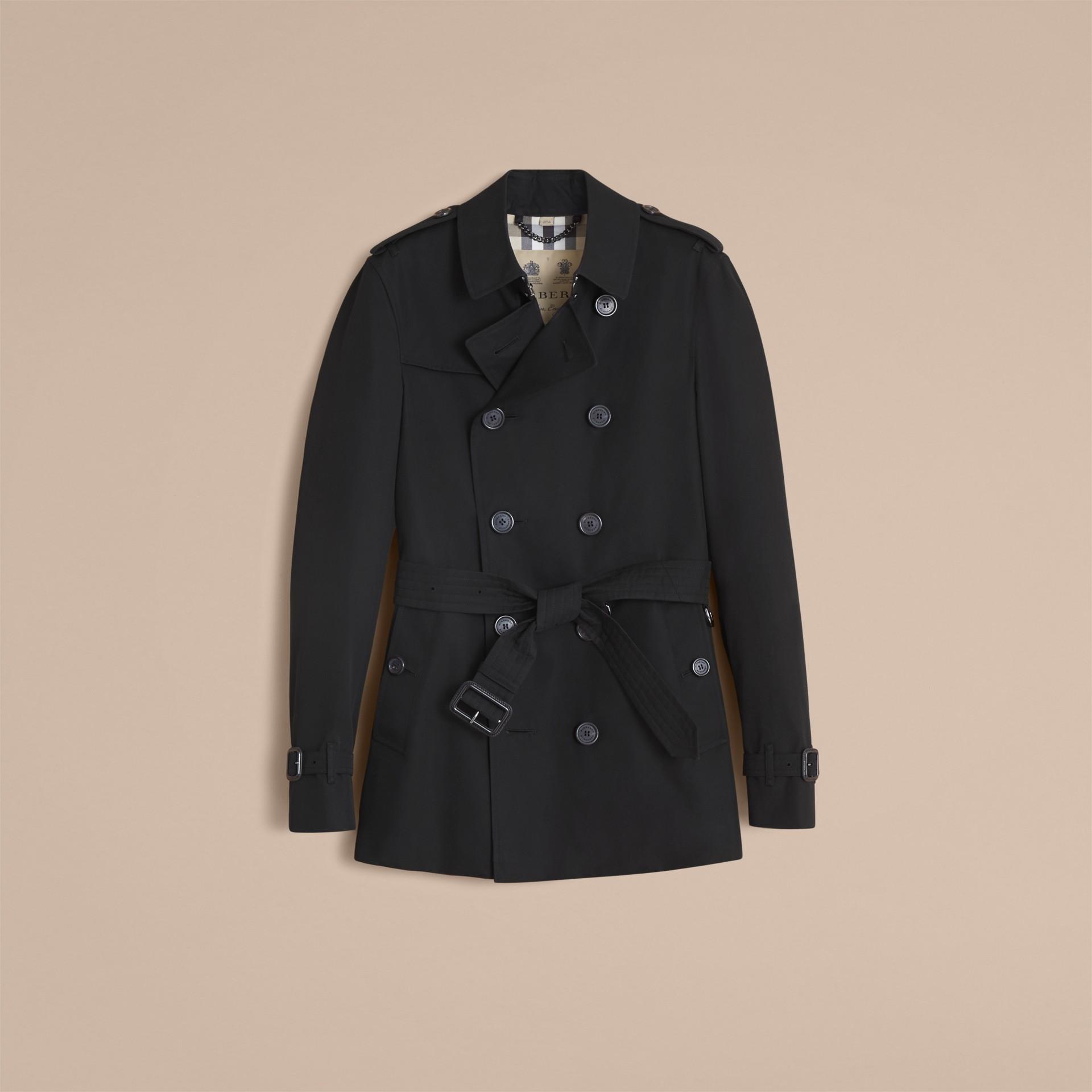 Negro Trench coat Chelsea – Trench coat Heritage corto Negro - imagen de la galería 5