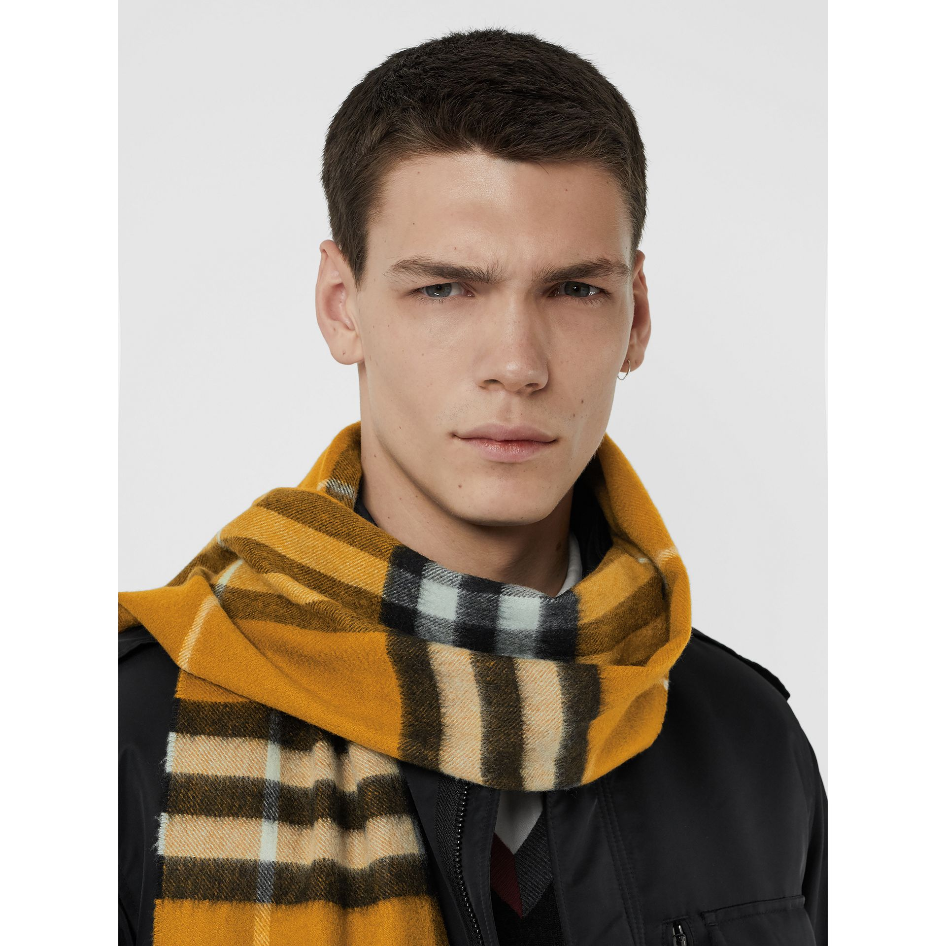 The Classic Check Cashmere Scarf in Umber Yellow | Burberry - gallery image 6