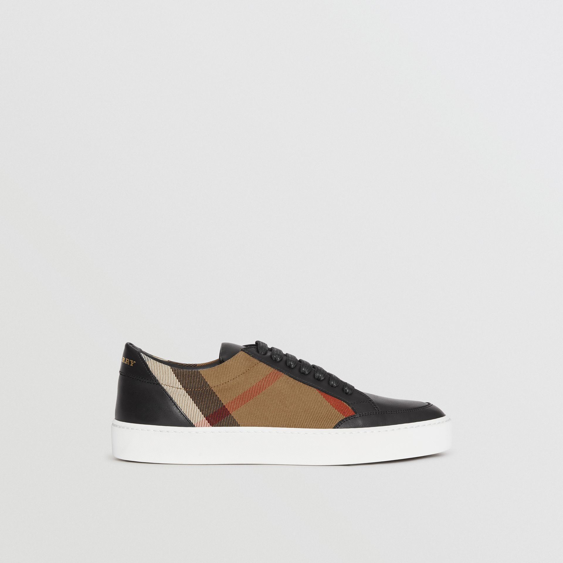 Check Detail Leather Sneakers in House Check/black - Women | Burberry - gallery image 5