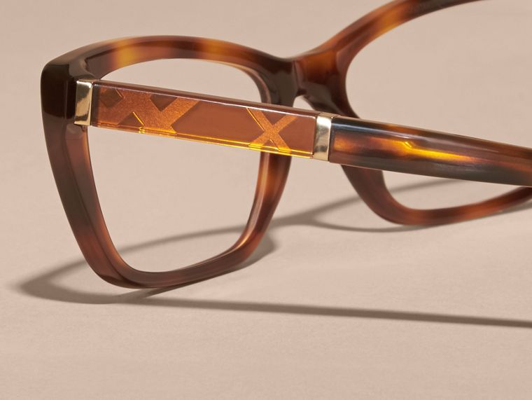 Light russet brown Check Detail Rectangular Cat-eye Optical Frames Light Russet Brown - cell image 1