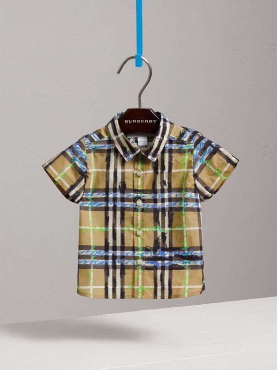 Short-sleeve Scribble Check Cotton Shirt in Bright Blue | Burberry Hong Kong - cell image 2