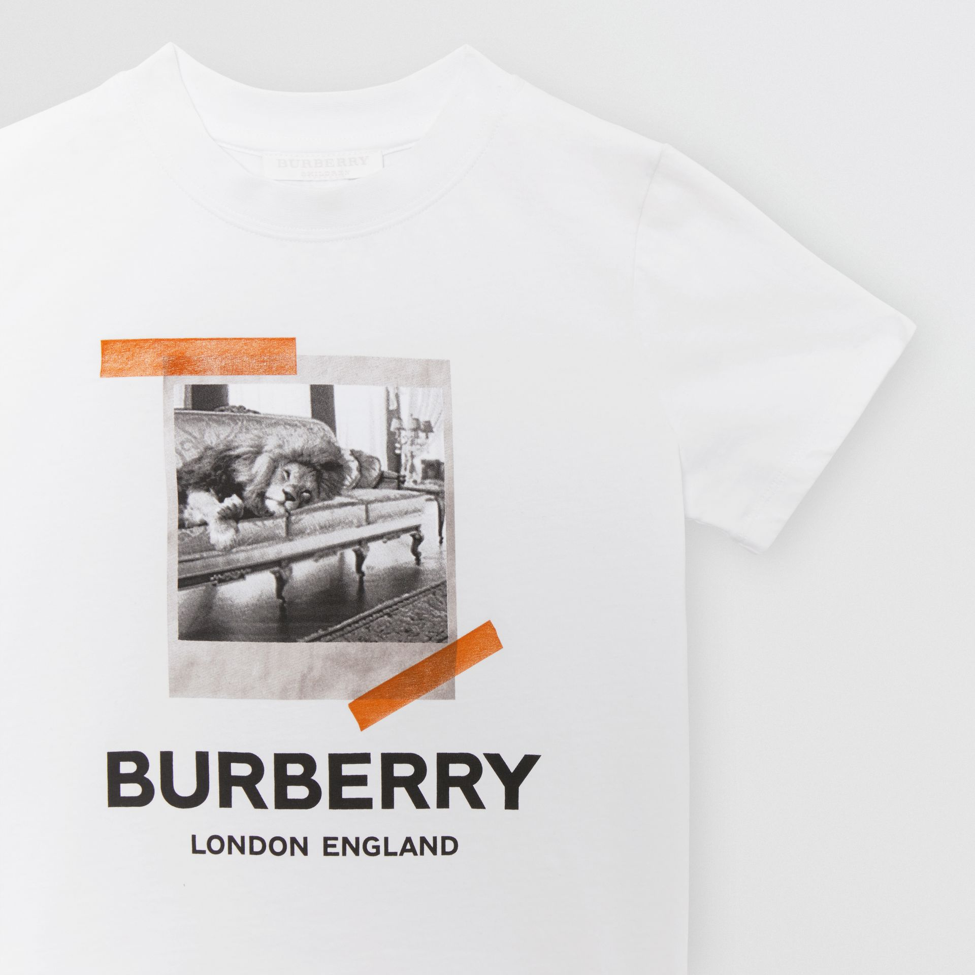 Vintage Polaroid Print Cotton T-shirt in White - Children | Burberry Australia - gallery image 4