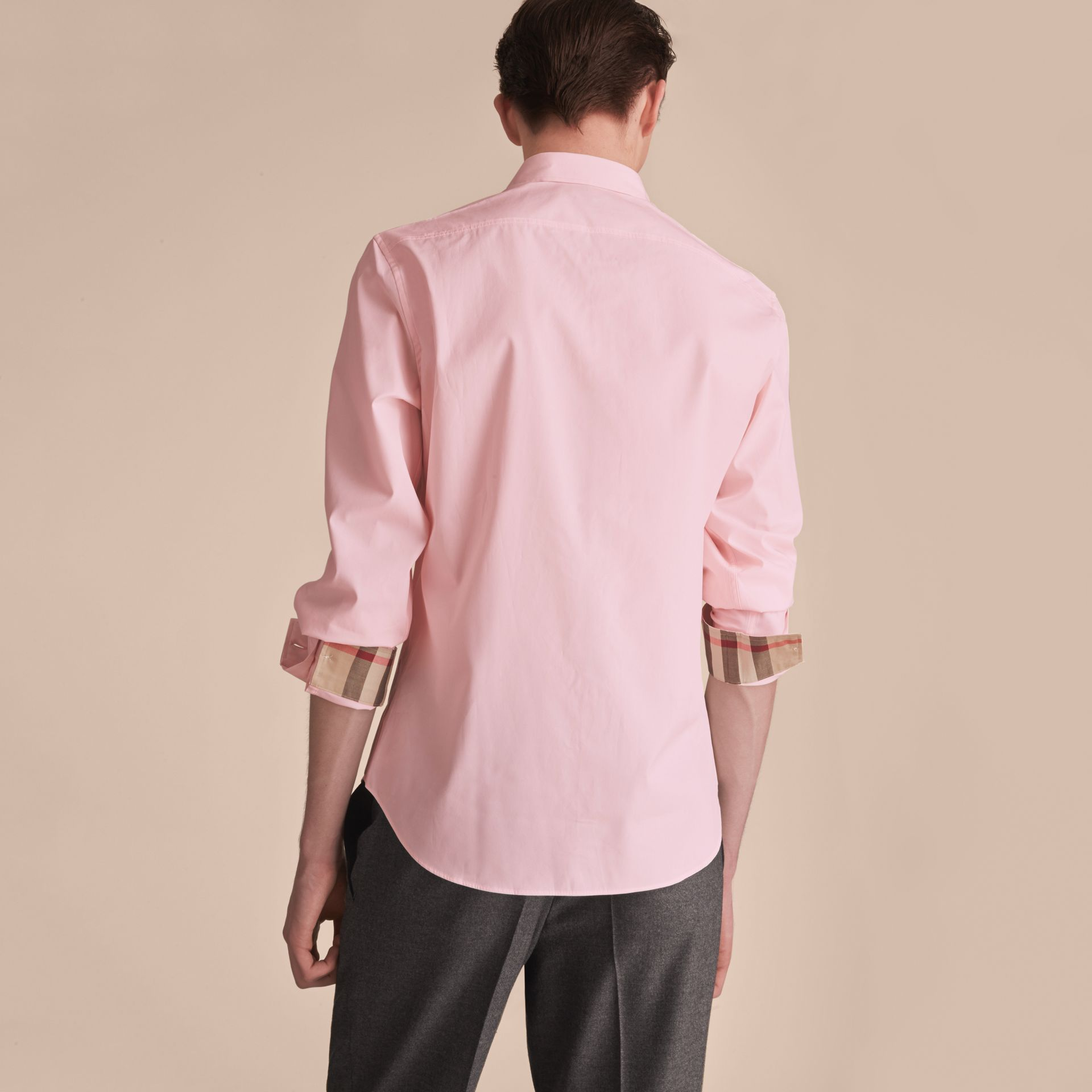 Check Detail Stretch Cotton Poplin Shirt in Pale Pink - Men | Burberry - gallery image 3
