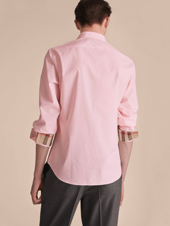 Check Detail Stretch Cotton Poplin Shirt in Pale Pink - Men | Burberry Hong Kong - cell image 2