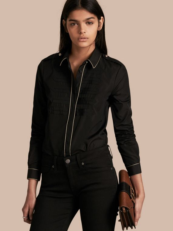 Piped Jacquard Cotton Shirt Black