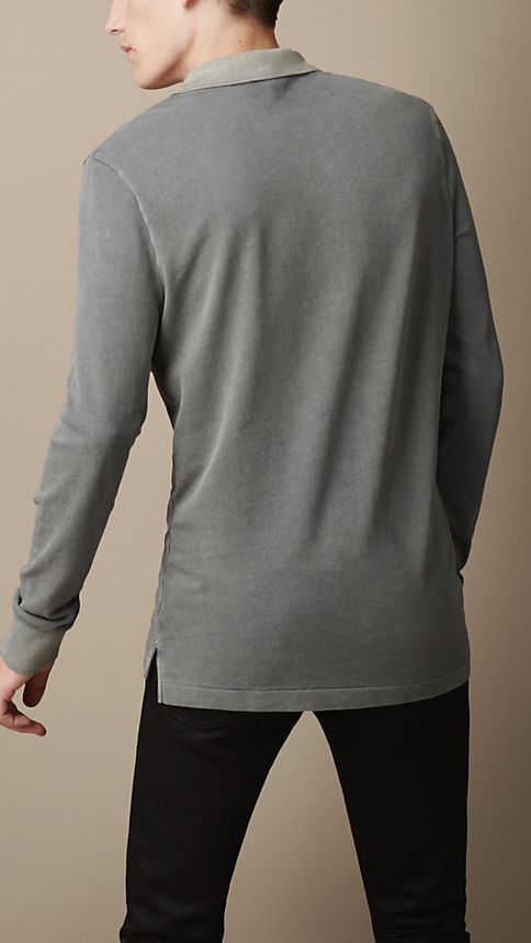 Grey Cotton Jersey Double Dyed Polo Shirt Grey - Image 2