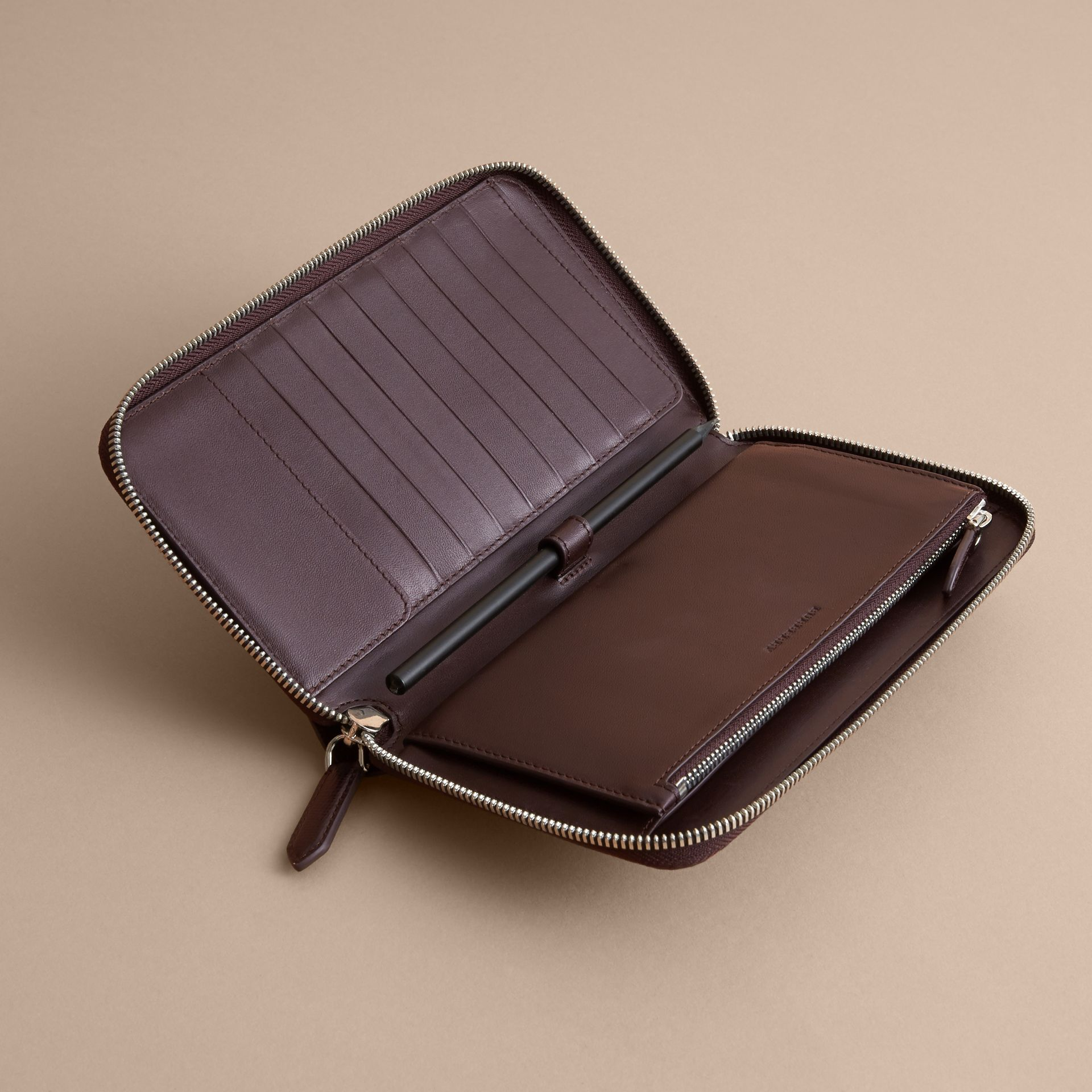 London Check Ziparound Wallet in Deep Claret - Men | Burberry Australia - gallery image 5