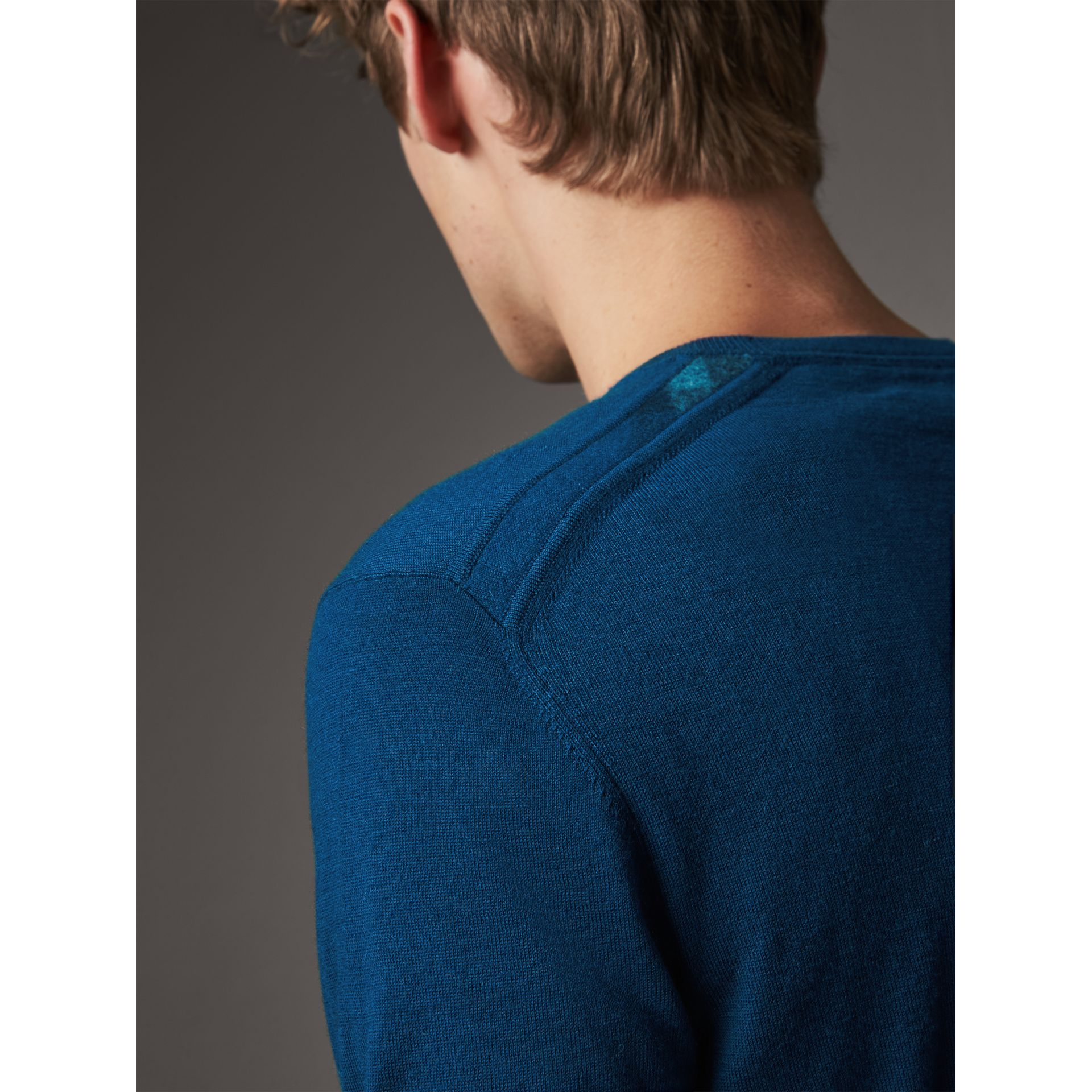 Check Jacquard Detail Cashmere Sweater in Dark Teal - Men | Burberry - gallery image 2