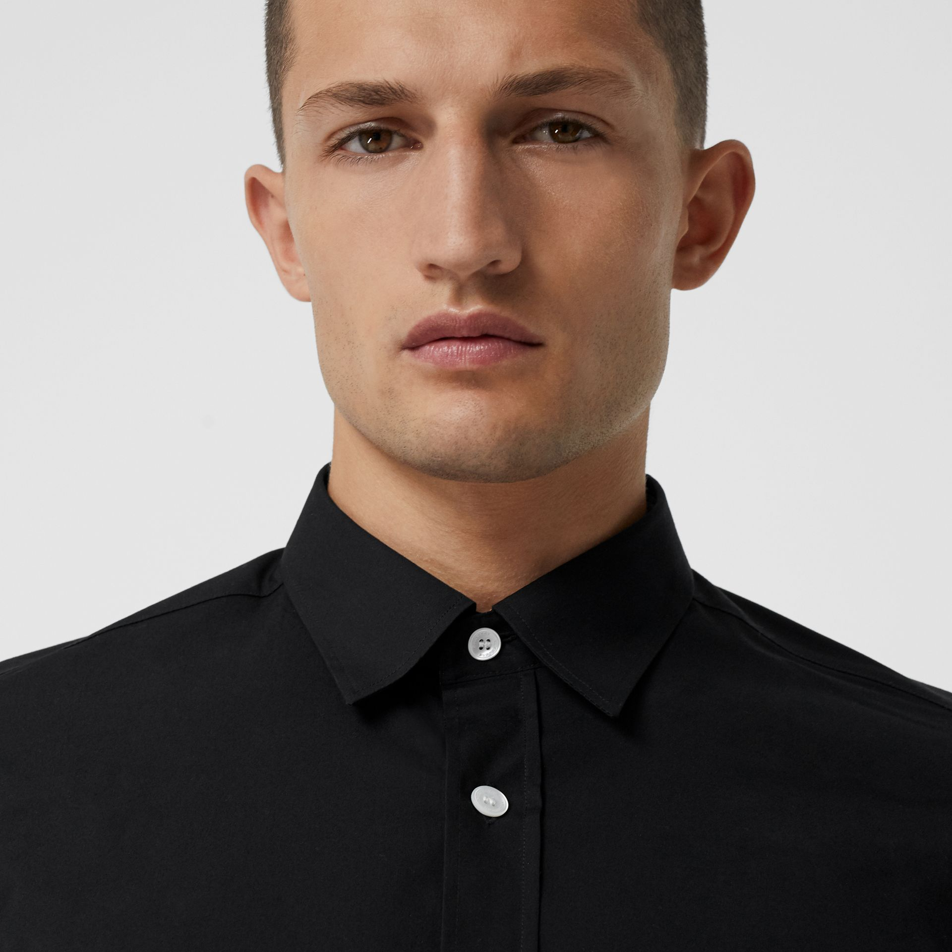 Contrast Button Stretch Cotton Shirt in Black - Men | Burberry United Kingdom - gallery image 1