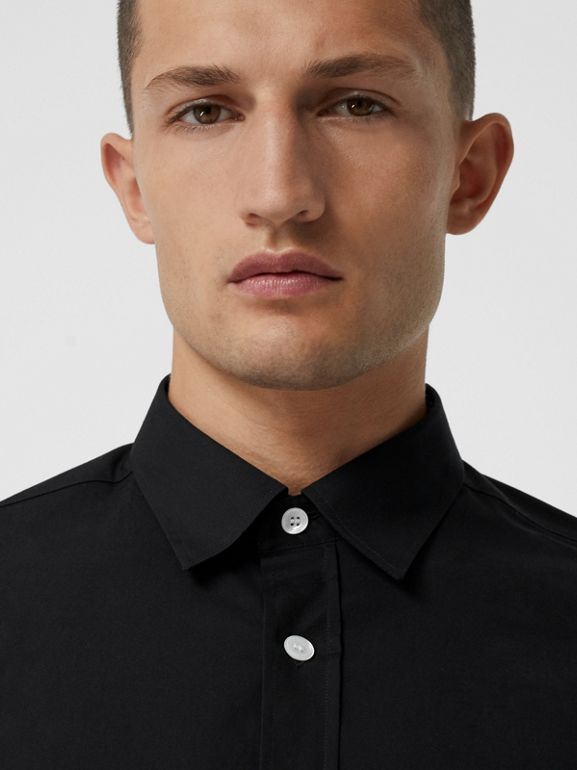 Contrast Button Stretch Cotton Shirt in Black - Men | Burberry - cell image 1