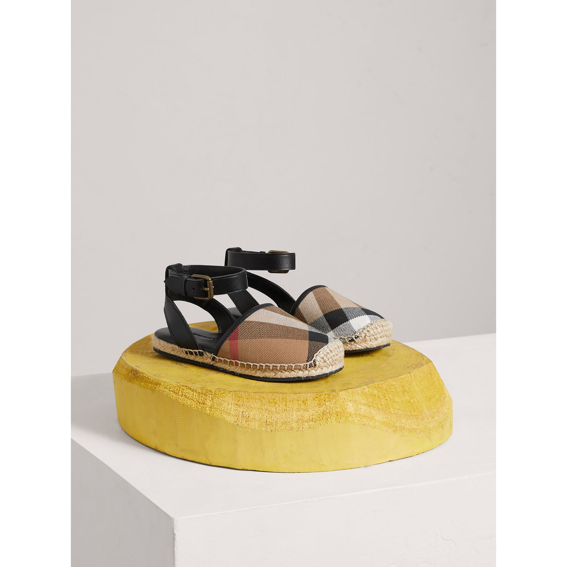 Leather Ankle Strap and House Check Espadrille Sandals in Black | Burberry Canada - gallery image 0