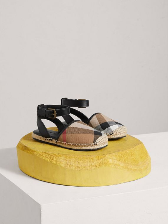 Leather Ankle Strap and House Check Espadrille Sandals in Black