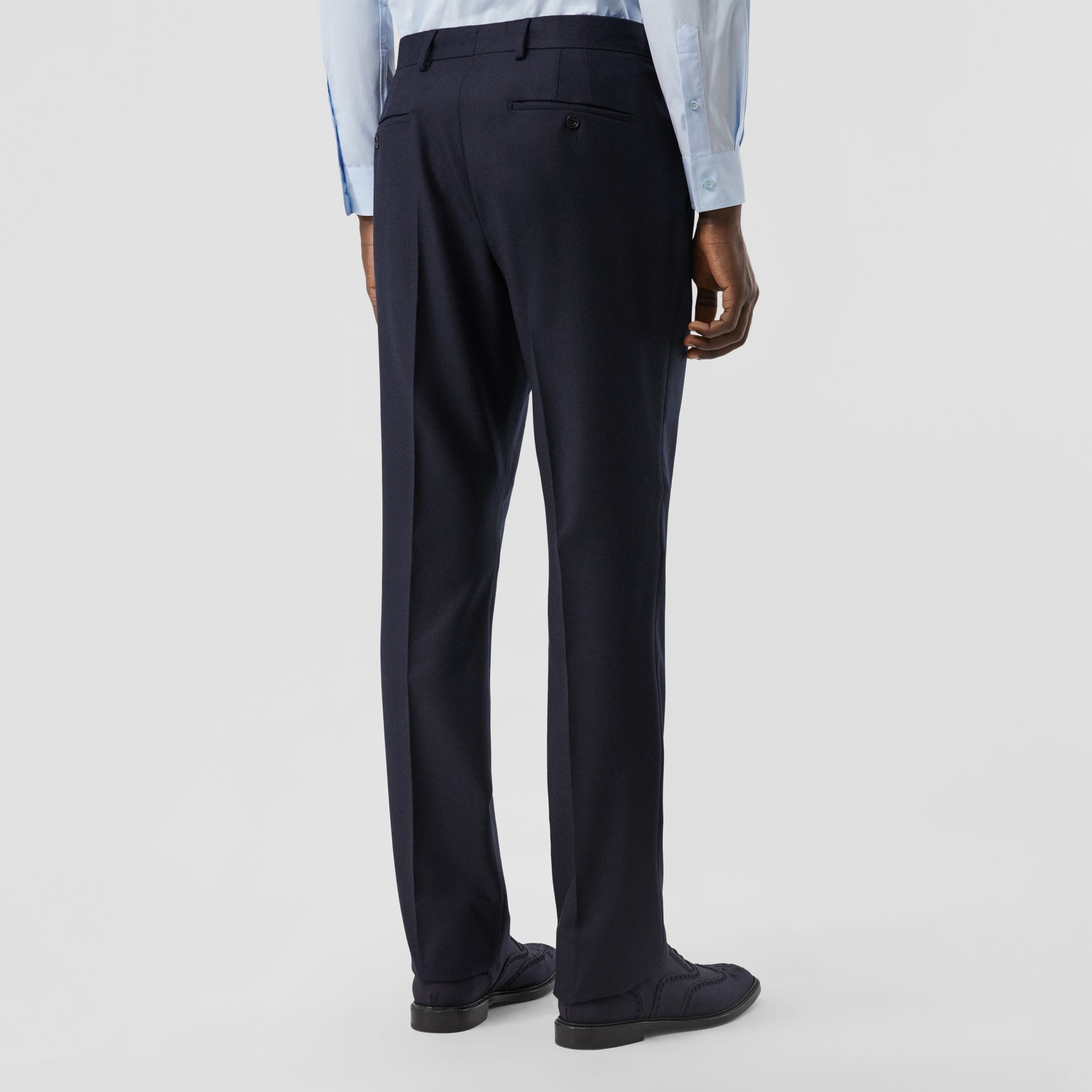 Classic Fit Wool Flannel Tailored Trousers in Navy - Men | Burberry - gallery image 2