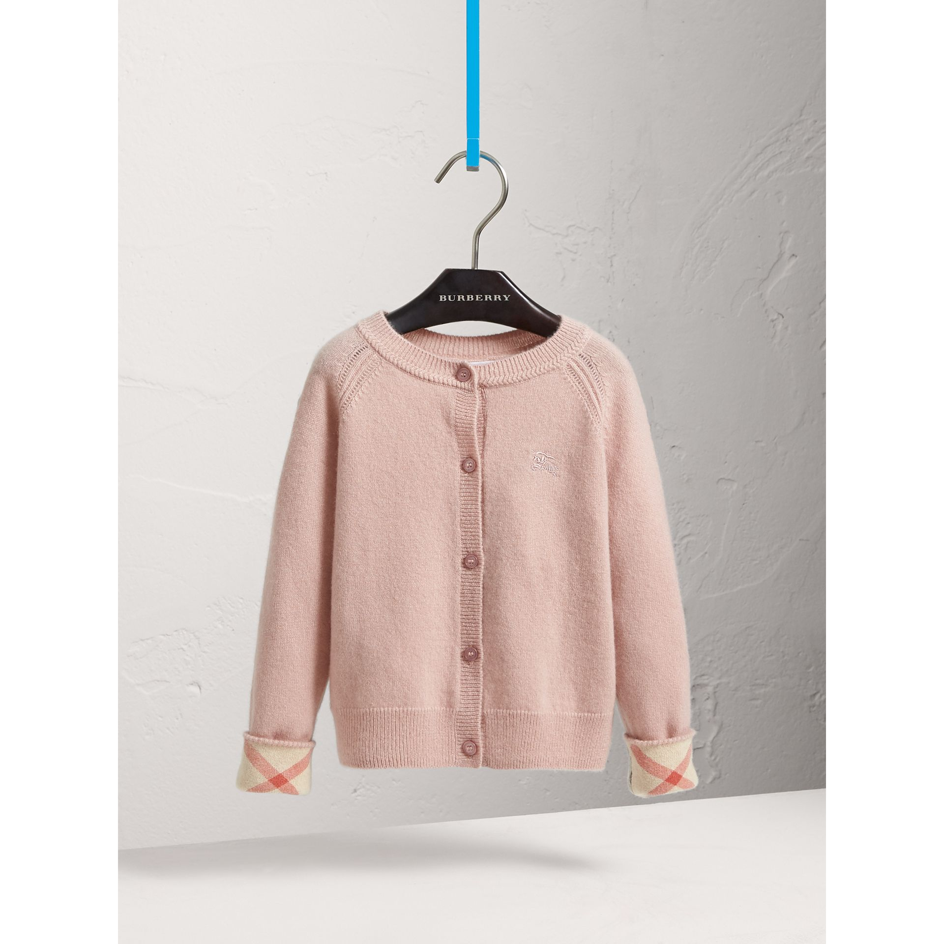 Check Cuff Cashmere Cardigan in Dusty Pink - Girl | Burberry United States - gallery image 0
