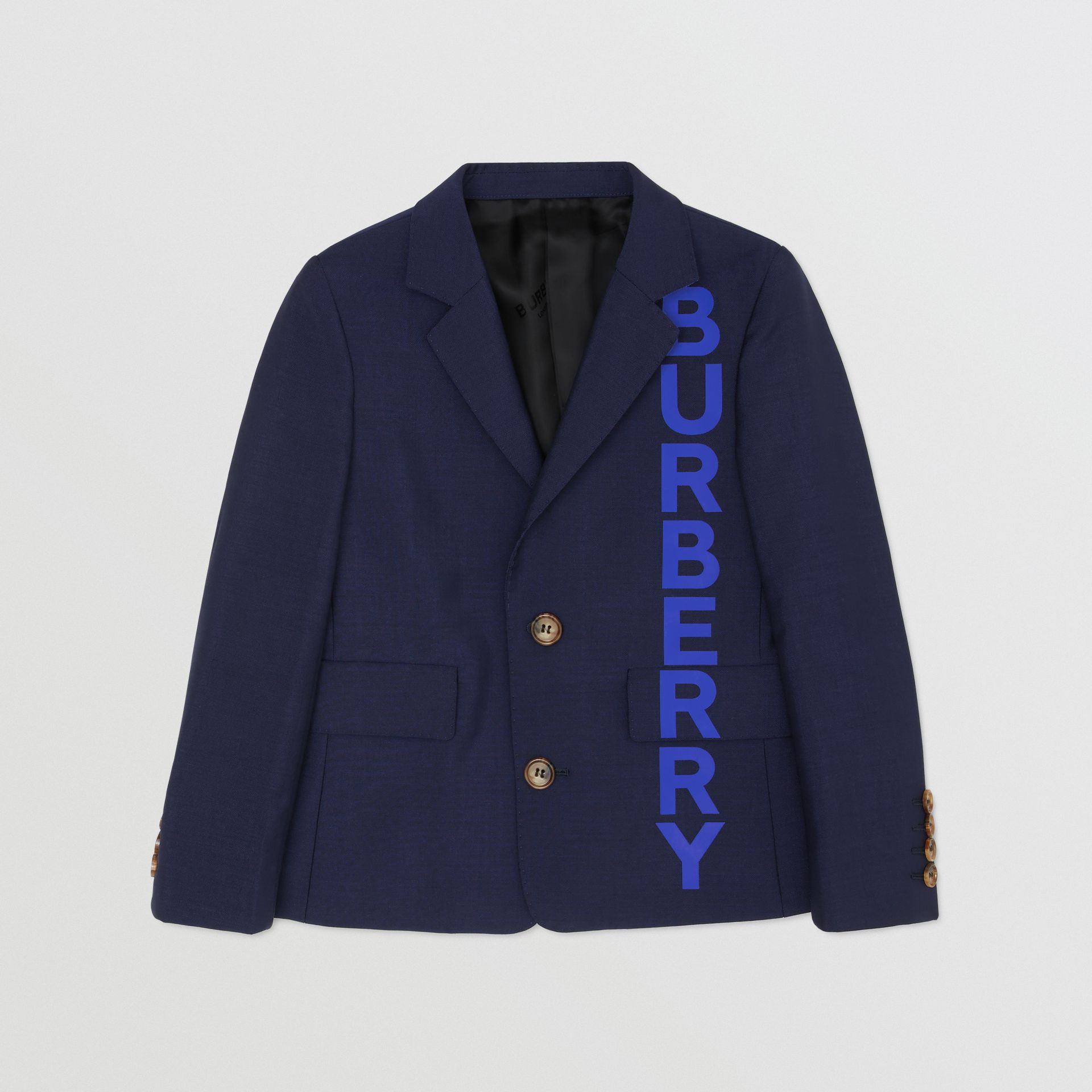 Logo Print Wool Mohair Blazer in Navy | Burberry - gallery image 0