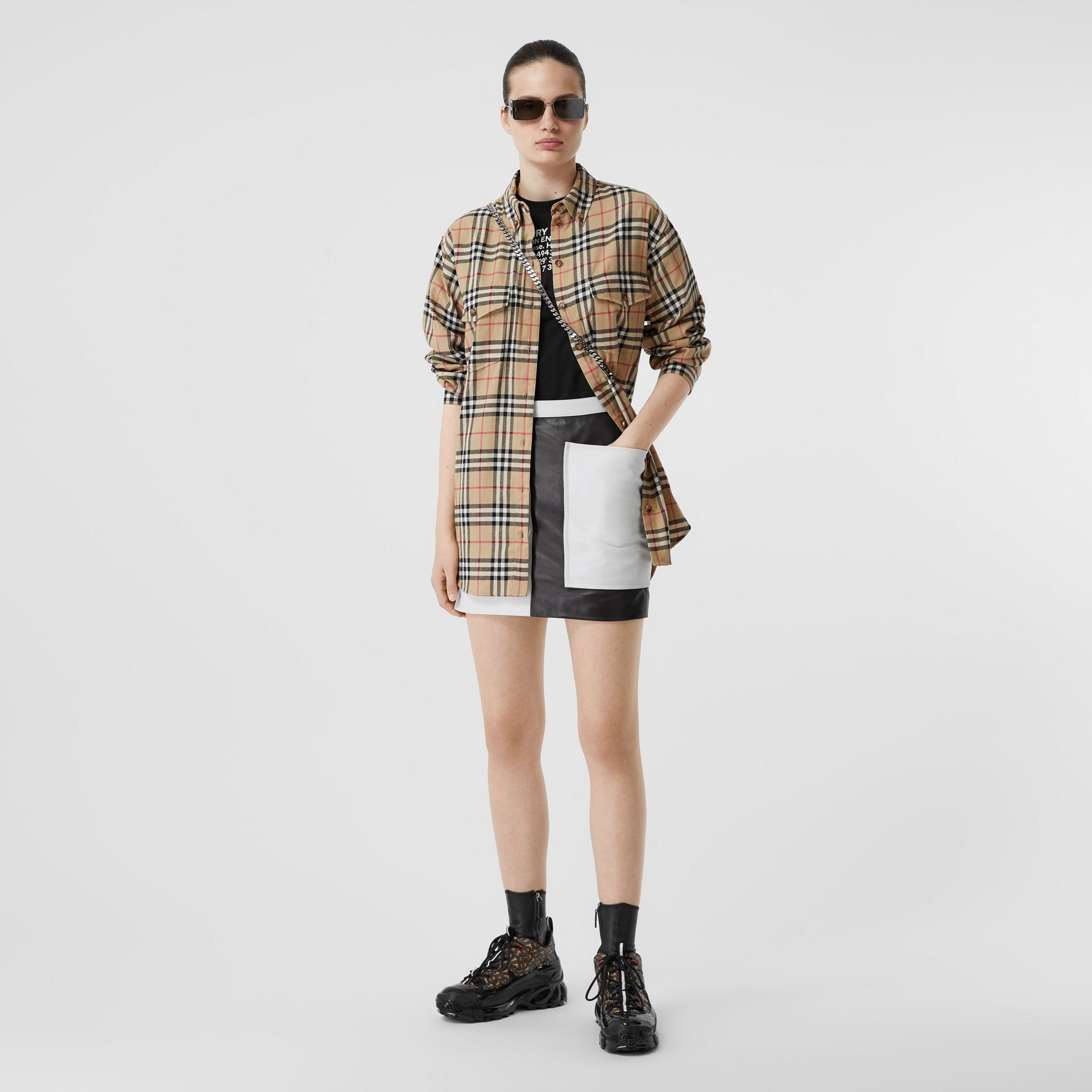 Vintage Check Cotton Flannel Oversized Shirt in Archive Beige - Women | Burberry Canada - gallery image 4