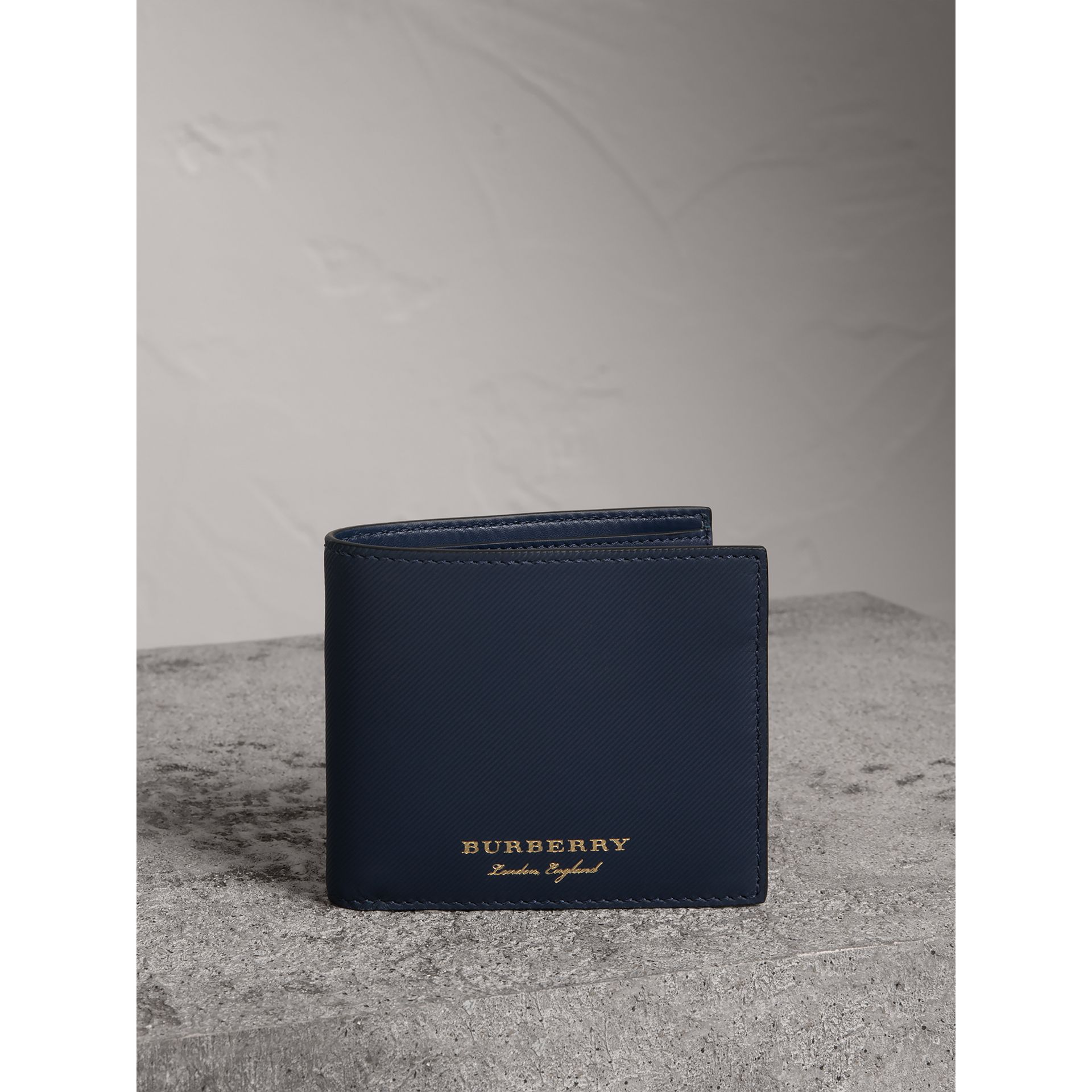 Trench Leather International Bifold Wallet in Ink Blue - Men | Burberry Canada - gallery image 4