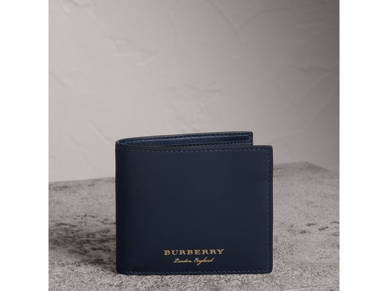 Trench Leather International Bifold Wallet in Ink Blue - Men | Burberry Canada - cell image 4