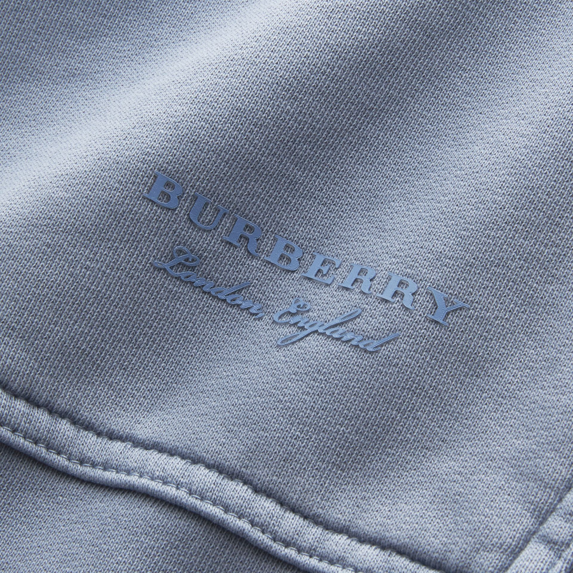Unisex Pigment-dyed Cotton Oversize Sweatshirt in Dusty Blue - Women | Burberry Australia - gallery image 2