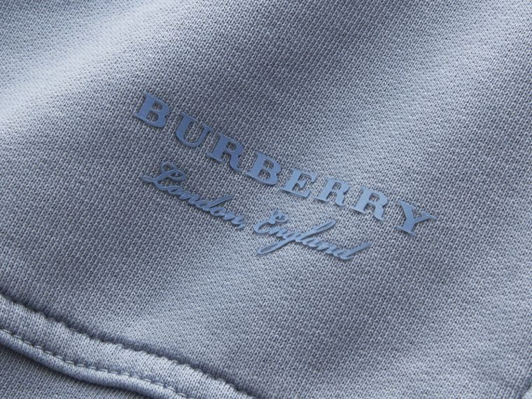Unisex Pigment-dyed Cotton Oversize Sweatshirt in Dusty Blue - Women | Burberry - cell image 1