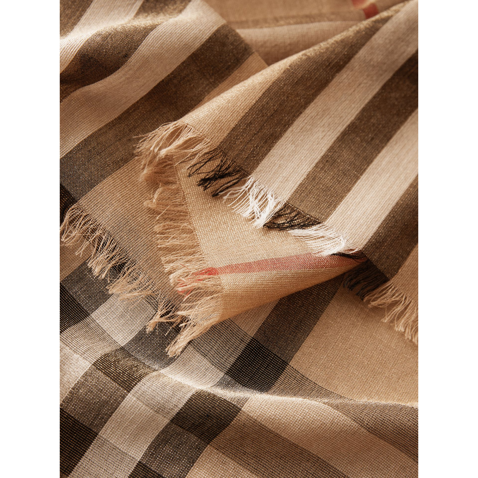 Metallic Check Silk and Wool Scarf in Camel/gold - Women | Burberry Australia - gallery image 1