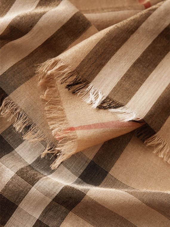 Metallic Check Silk and Wool Scarf in Camel/gold - Women | Burberry Hong Kong - cell image 2