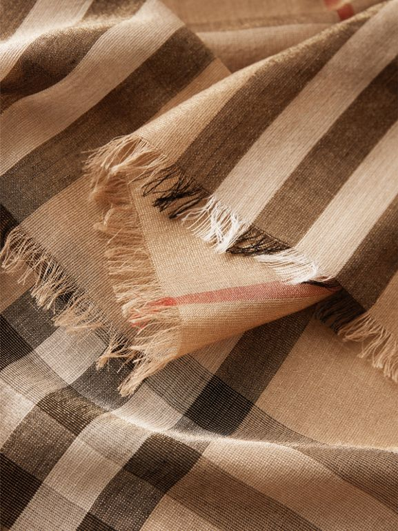 Metallic Check Silk and Wool Scarf in Camel/gold - Women | Burberry Australia - cell image 1