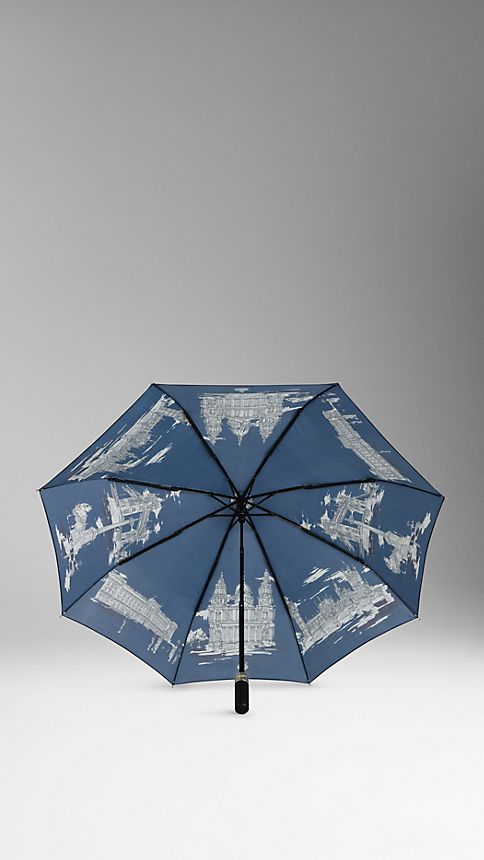 Brilliant navy London Landmarks Folding Umbrella - Image 2