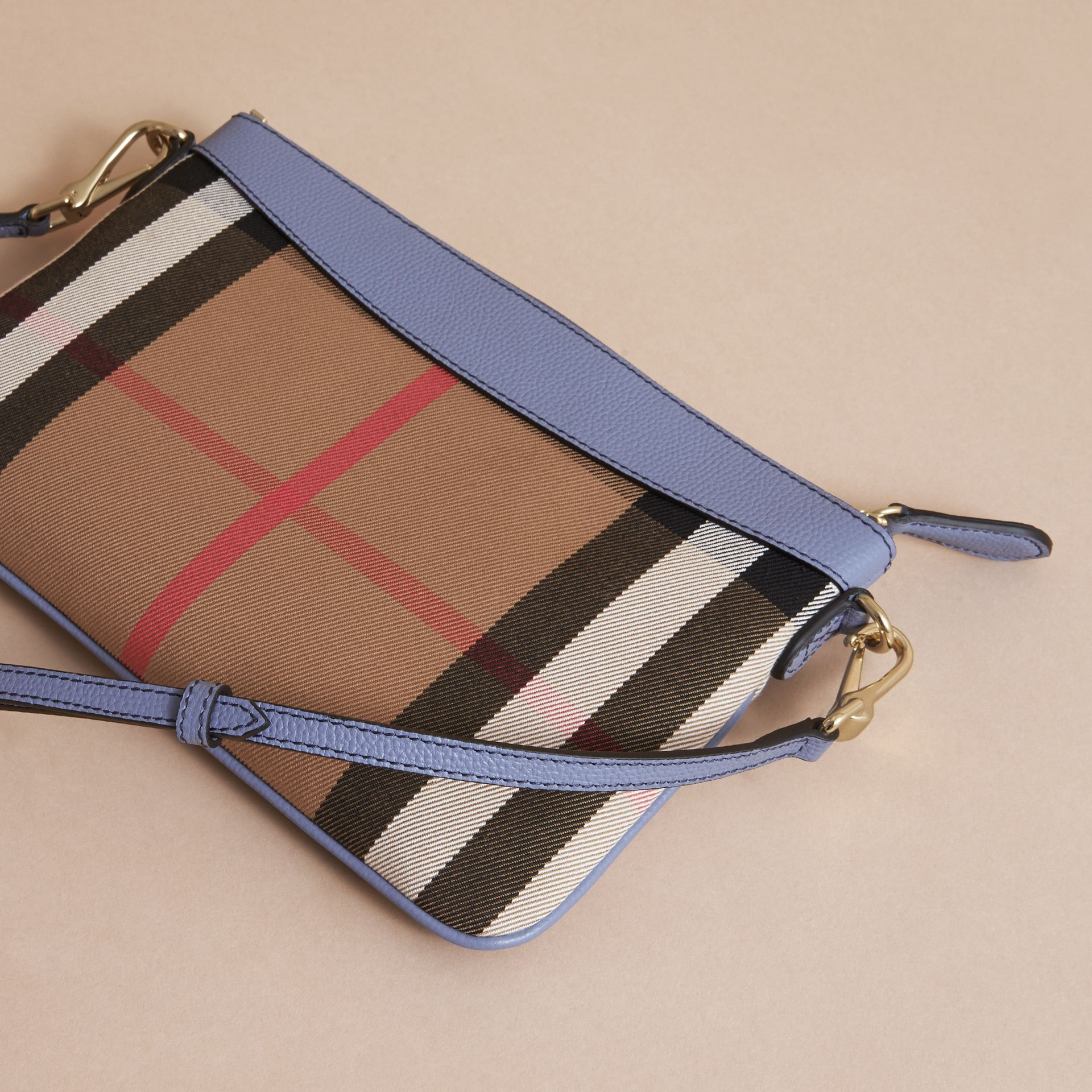 House Check and Leather Clutch Bag in Slate Blue - Women | Burberry - gallery image 5
