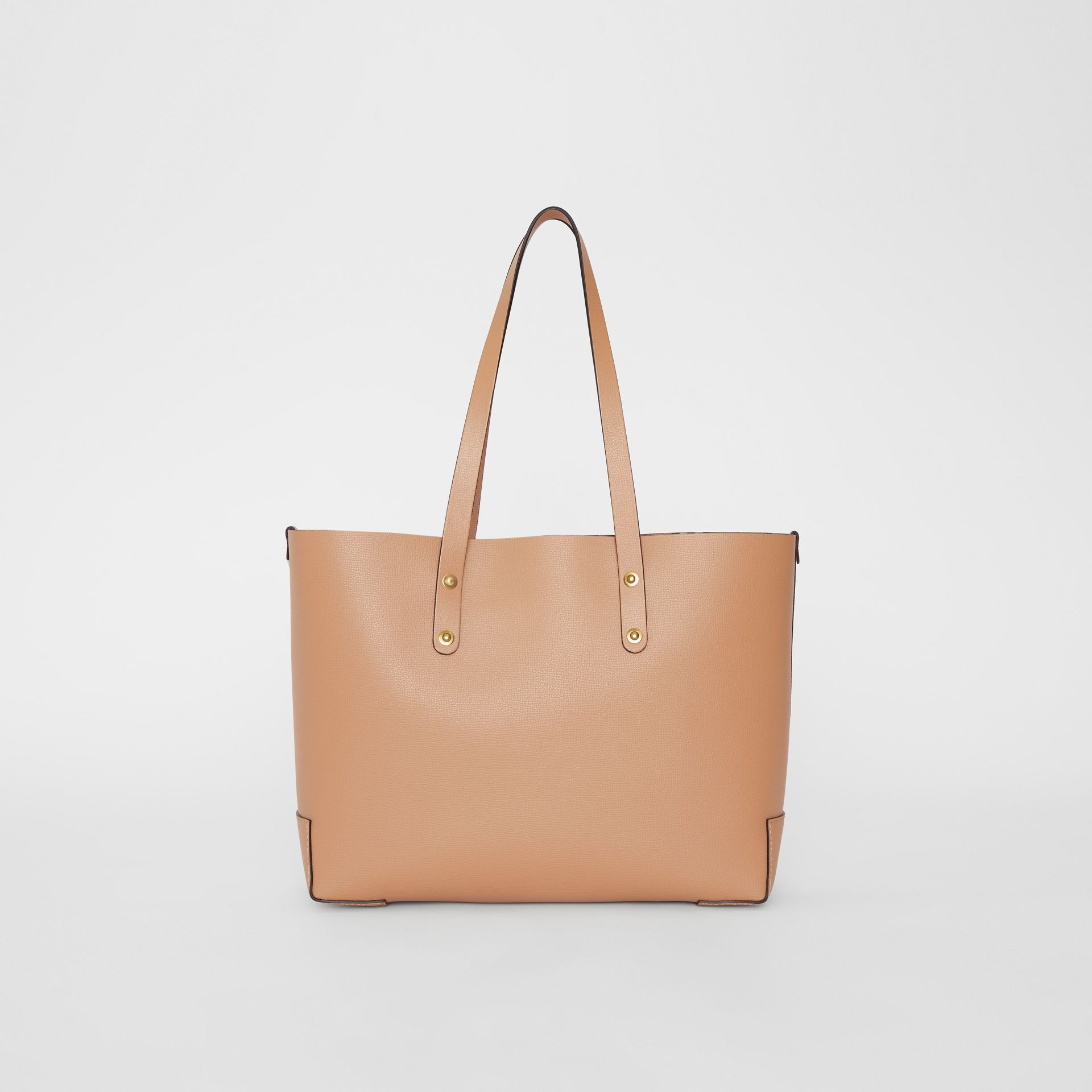Small Embossed Crest Leather Tote in Light Camel - Women | Burberry - gallery image 7