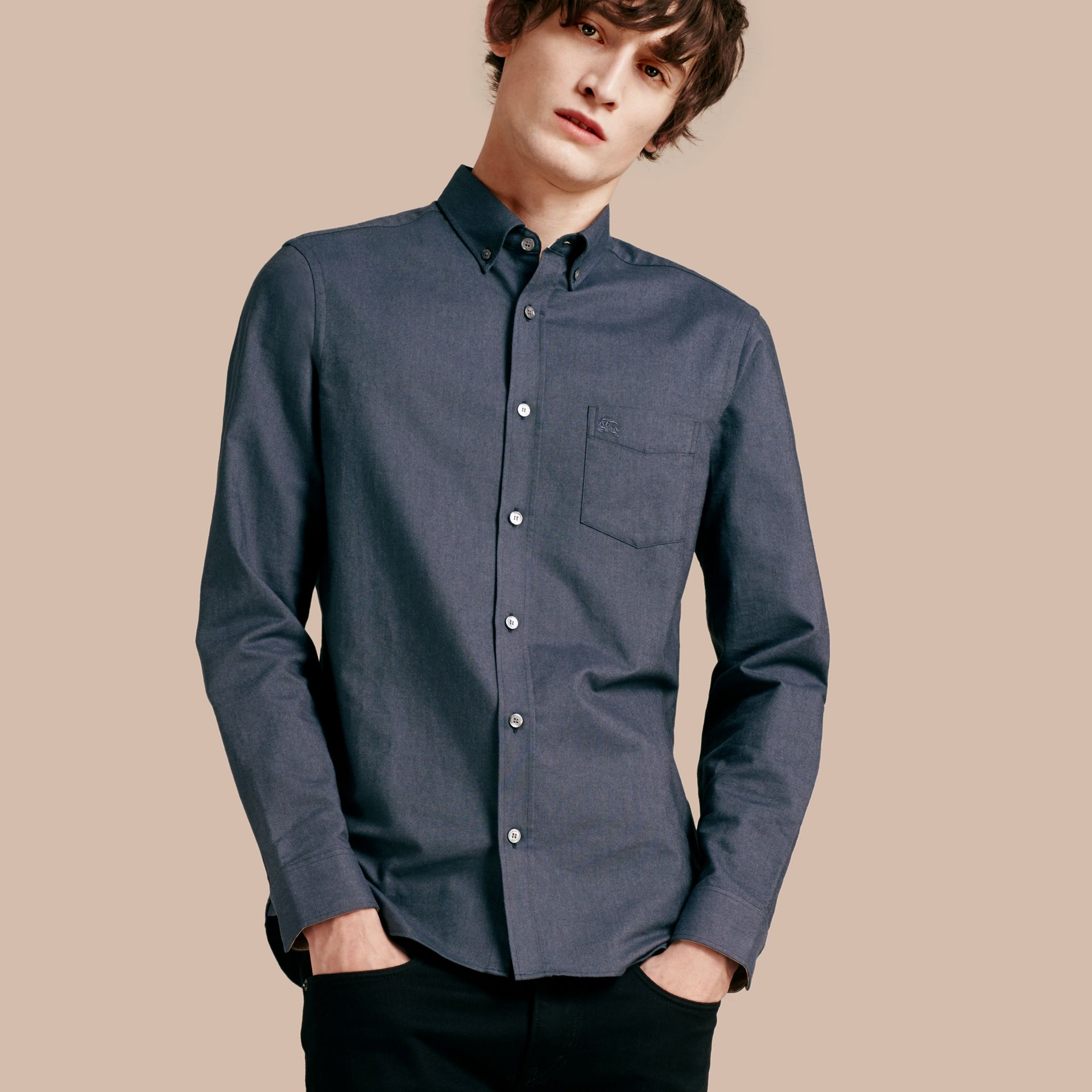 Check Detail Cotton Oxford Shirt in Dark Charcoal - gallery image 1
