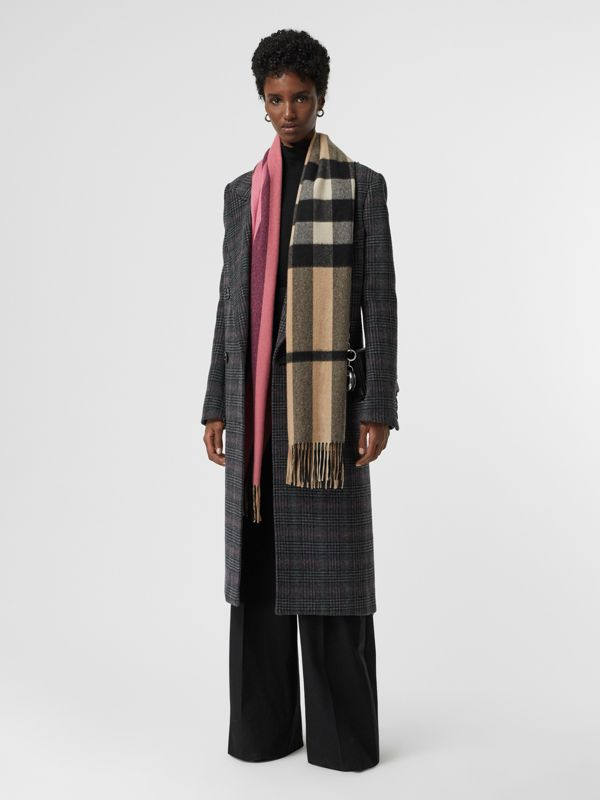 Colour Block Check Cashmere Scarf in Rose Pink | Burberry Canada - cell image 2