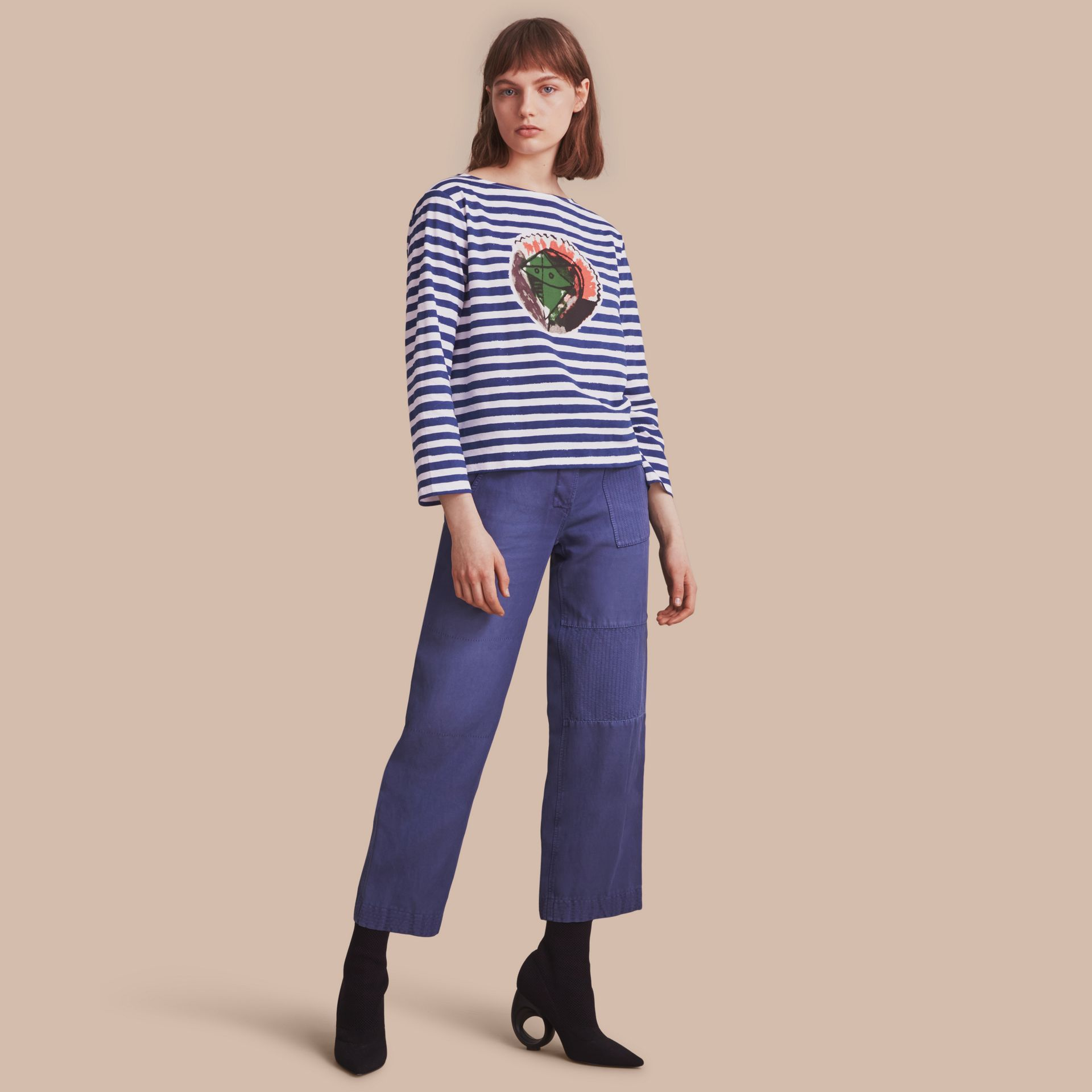 Pallas Heads Print Breton Stripe Jersey Top - gallery image 1