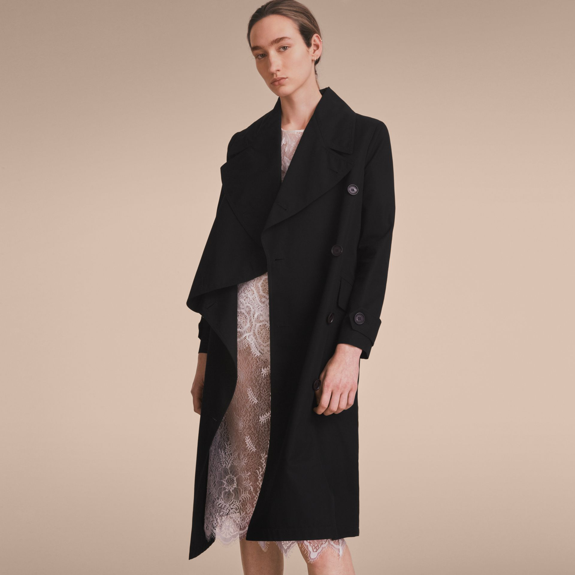 Cotton Gabardine Coat with Curved Closure - Women | Burberry - gallery image 6