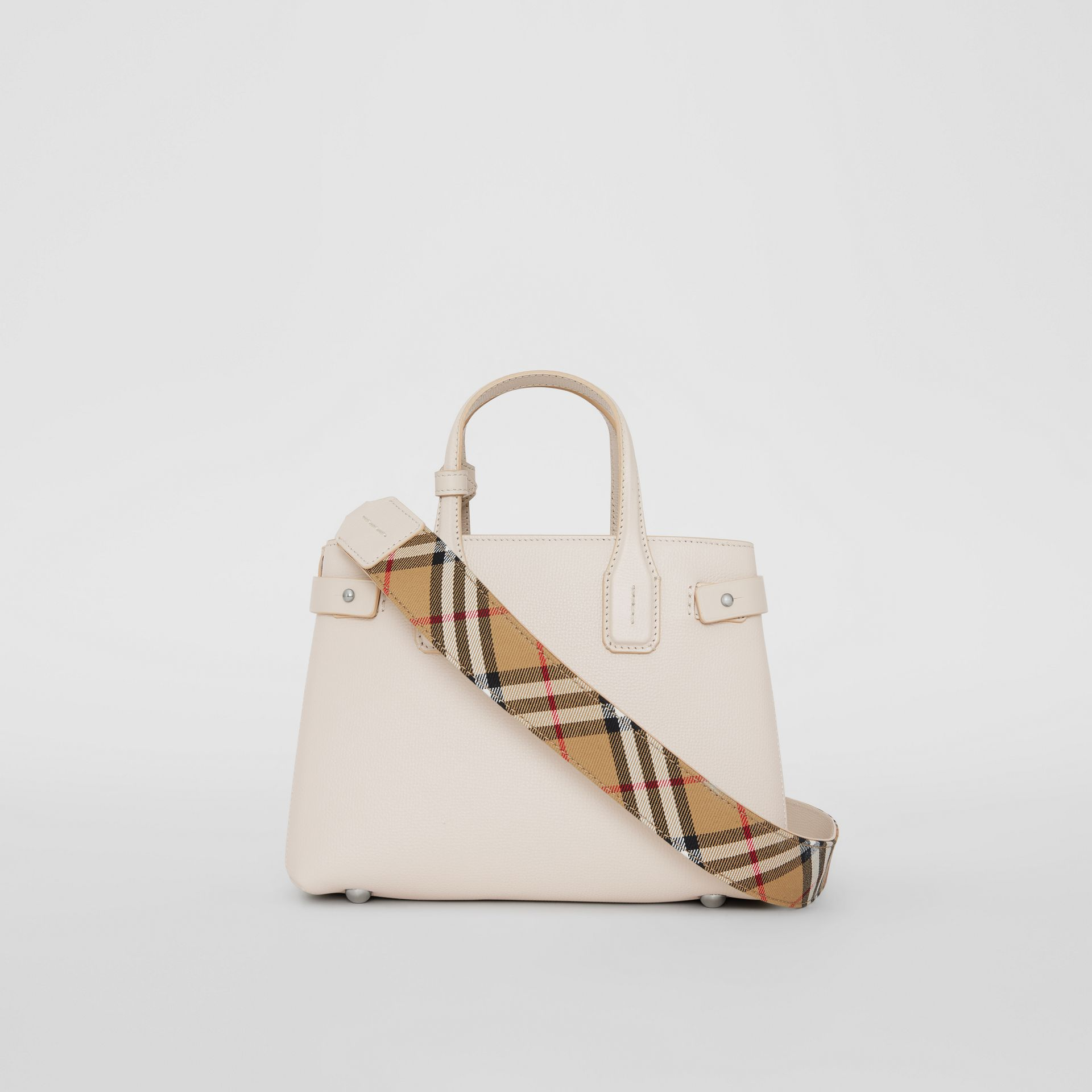 The Small Banner in Leather and Vintage Check in Limestone - Women | Burberry - gallery image 4