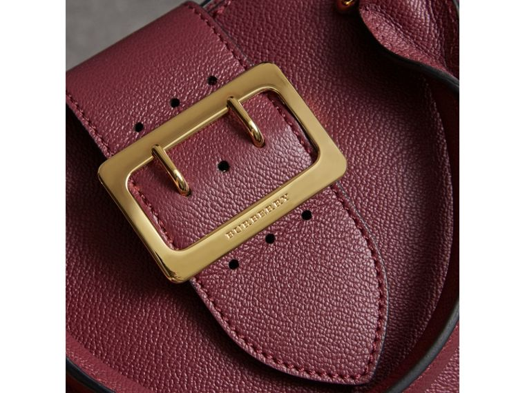 The Small Buckle Tote in Grainy Leather in Dark Plum - Women | Burberry United Kingdom - cell image 1