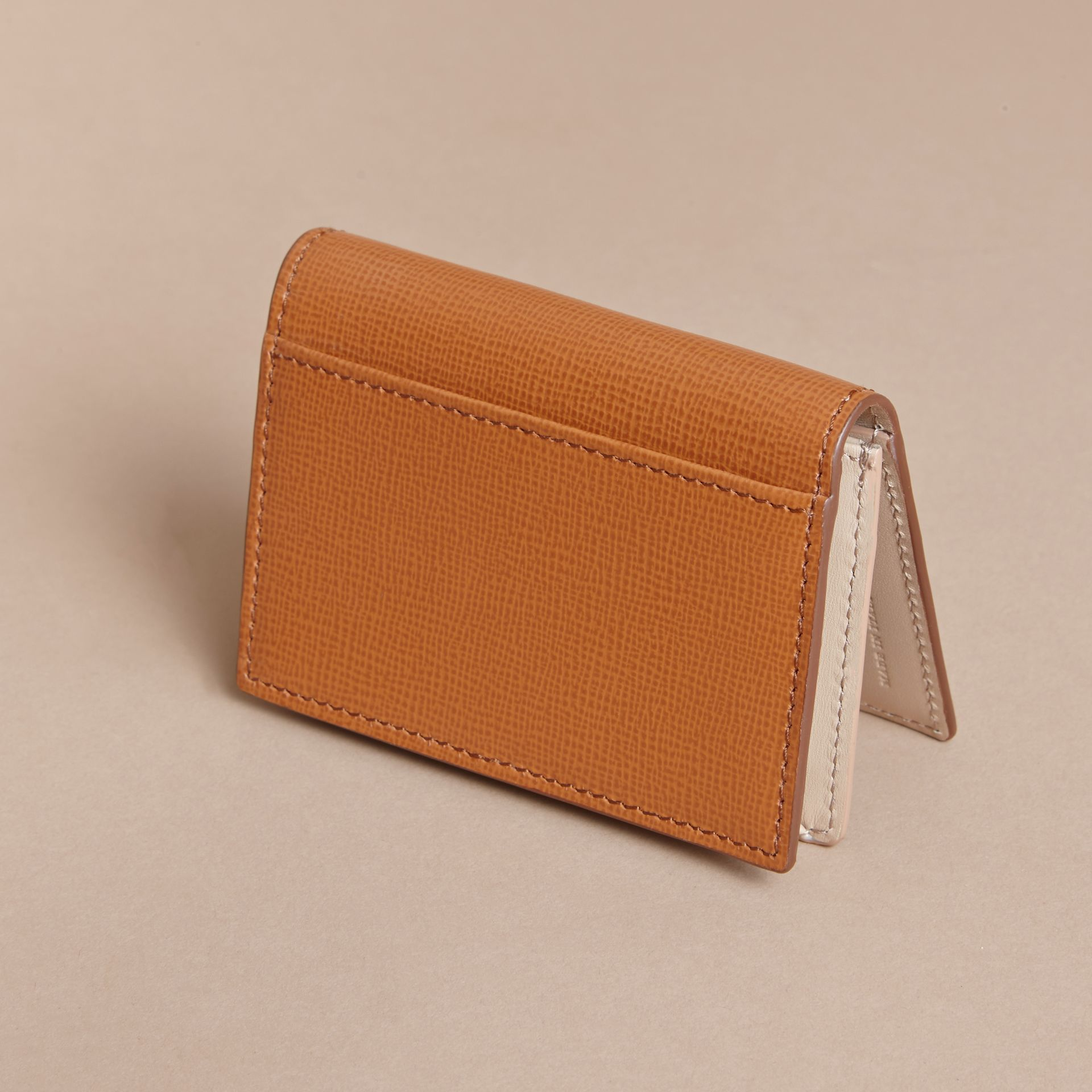London Leather Folding Card Case in Tan - Men | Burberry - gallery image 3