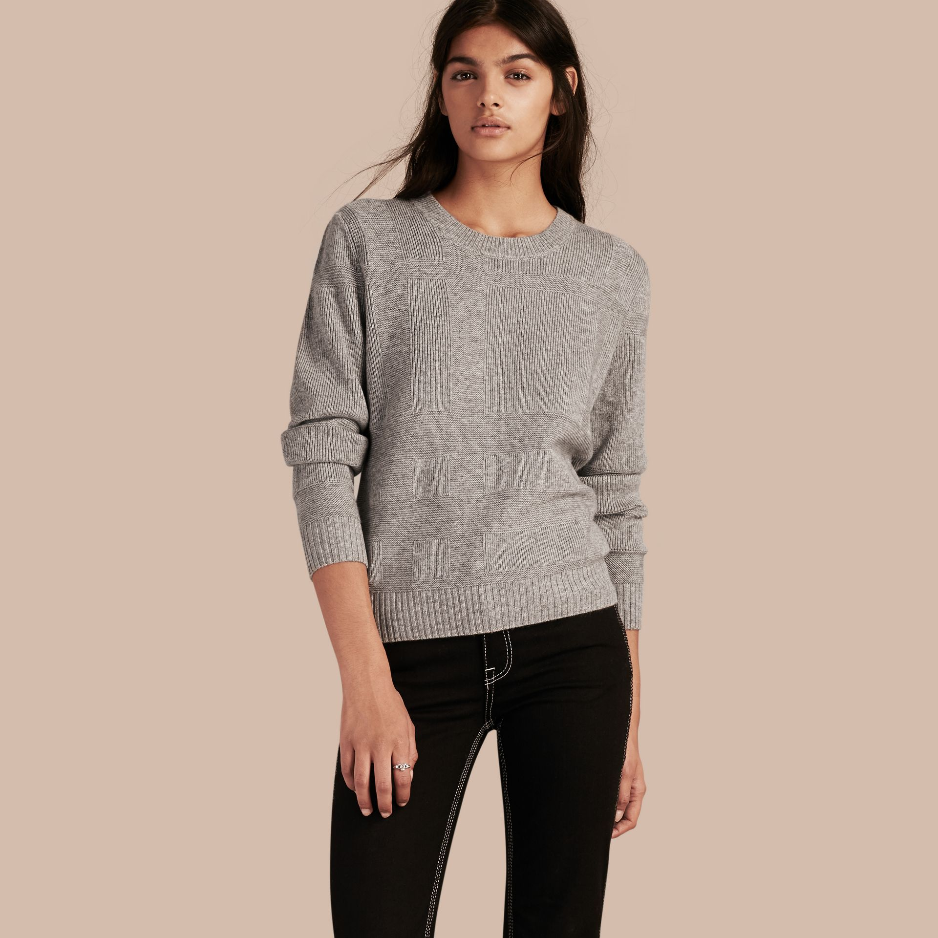 Check-knit Wool Cashmere Sweater Light Grey Melange - gallery image 1