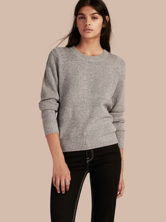 Check-knit Wool Cashmere Sweater Light Grey Melange
