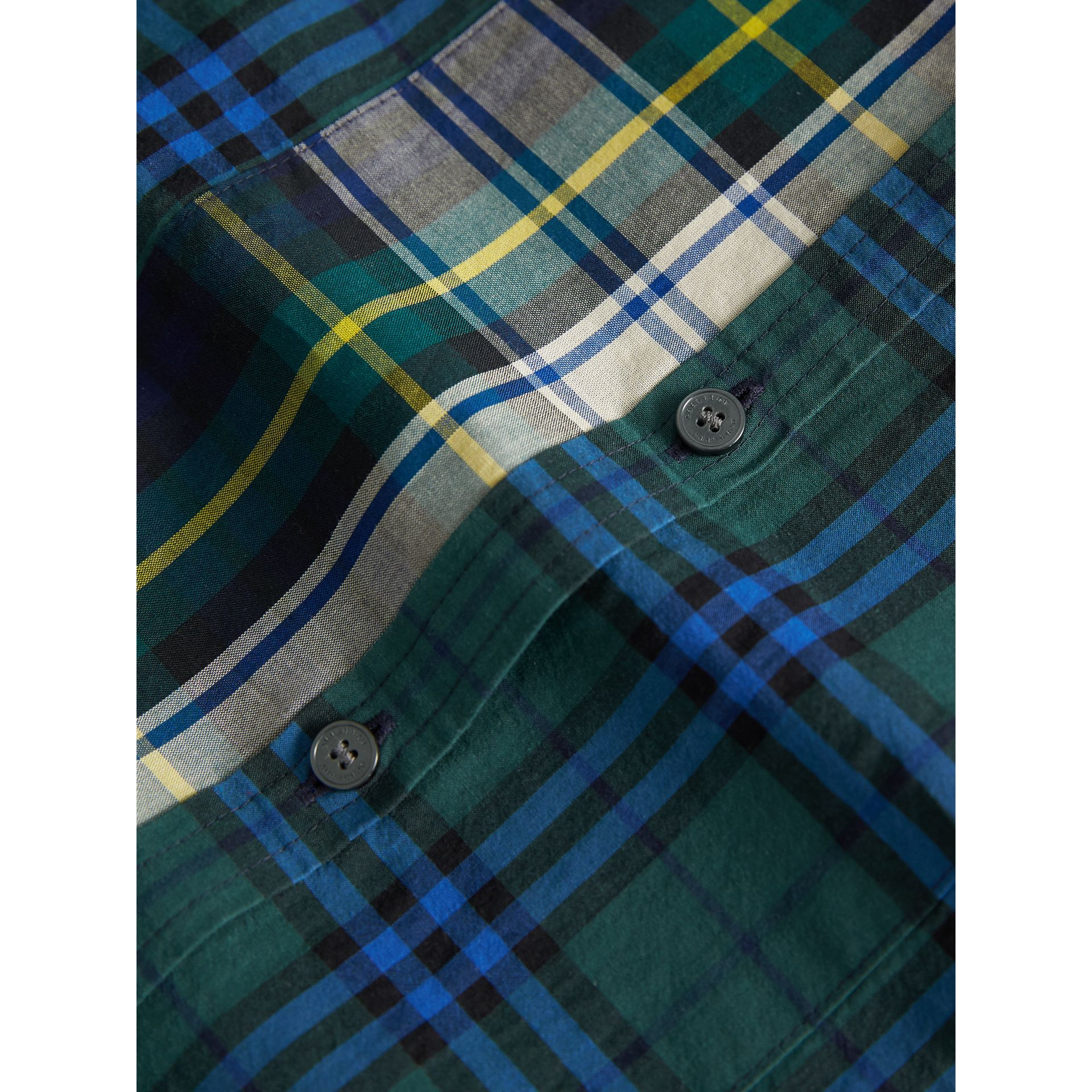 Panelled Tartan and Check Cotton Poplin Shirt in Forest Green - Boy | Burberry - gallery image 2