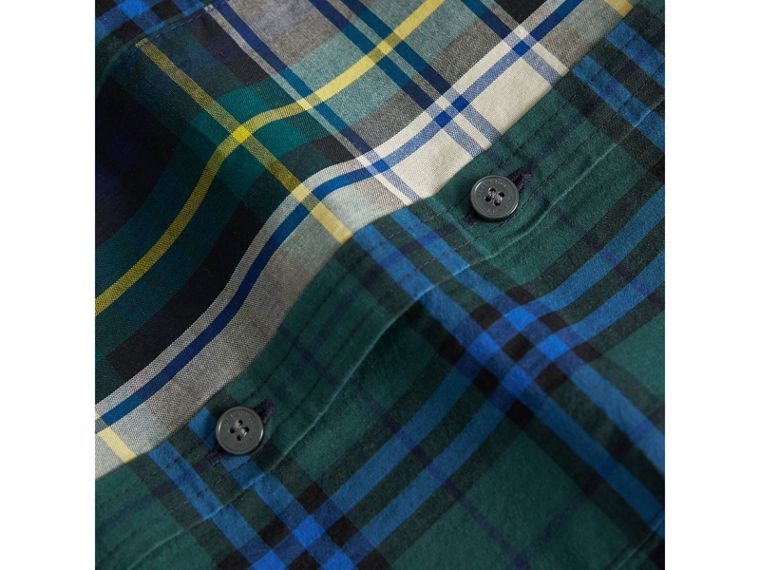Panelled Tartan and Check Cotton Poplin Shirt in Forest Green | Burberry - cell image 1