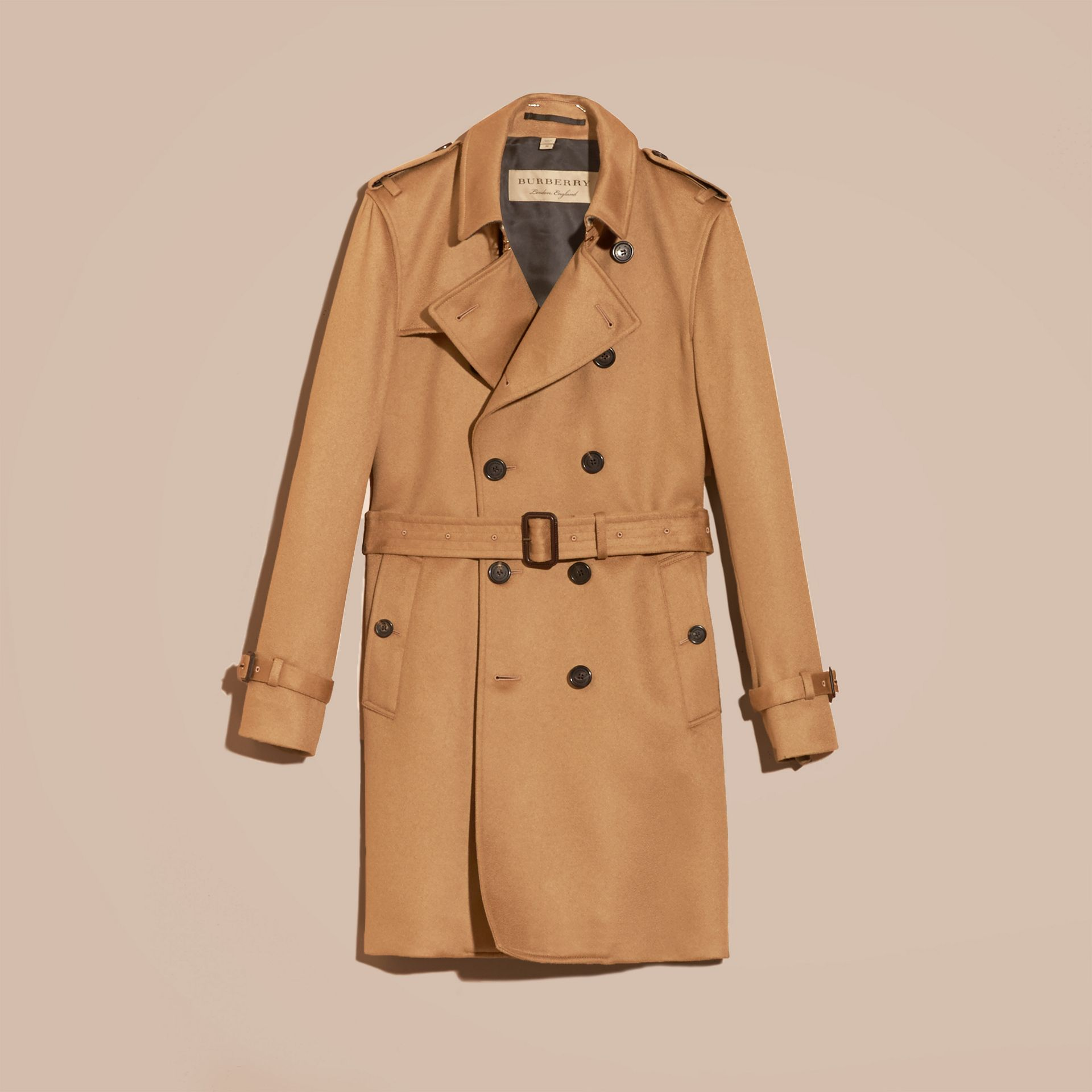 Cashmere Trench Coat Dark Camel - gallery image 4