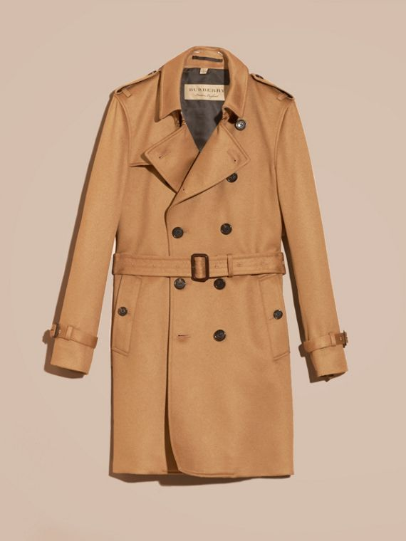 Cammello scuro Trench coat in cashmere Cammello Scuro - cell image 3