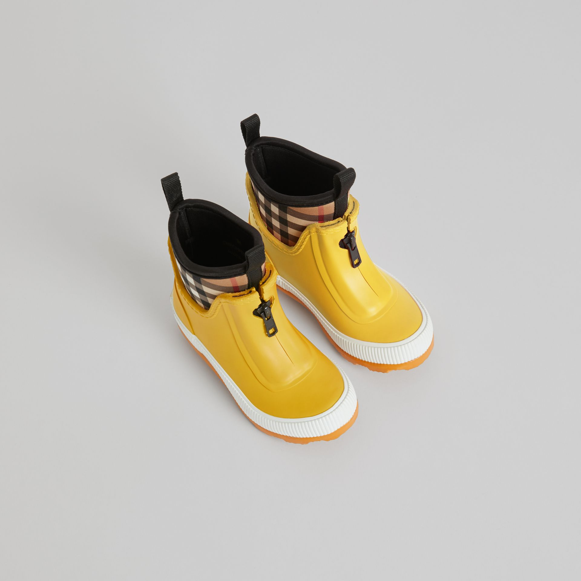 Vintage Check Neoprene and Rubber Rain Boots in Vibrant Lemon - Children | Burberry United Kingdom - gallery image 0