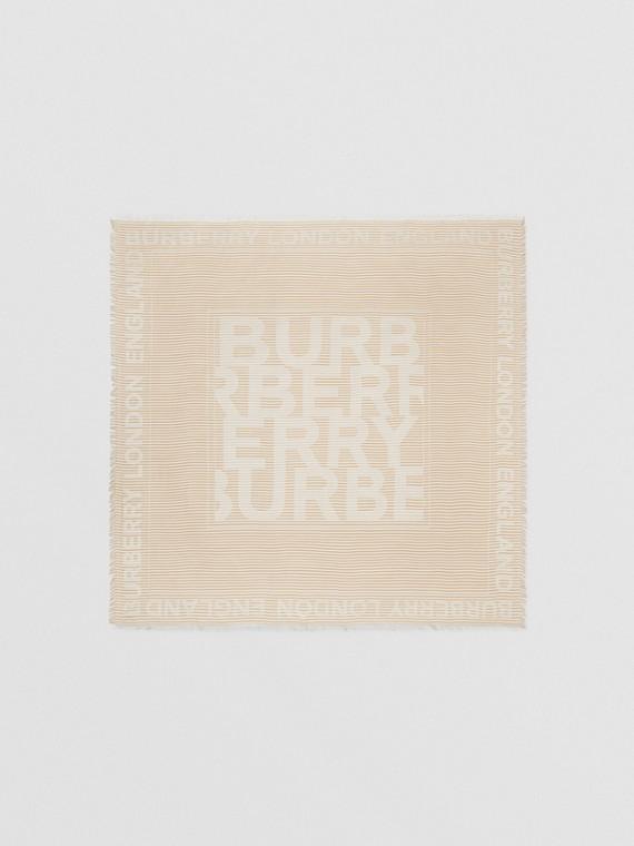 Grand carré de soie et laine en jacquard à logo et rayures (Beige D'archive)