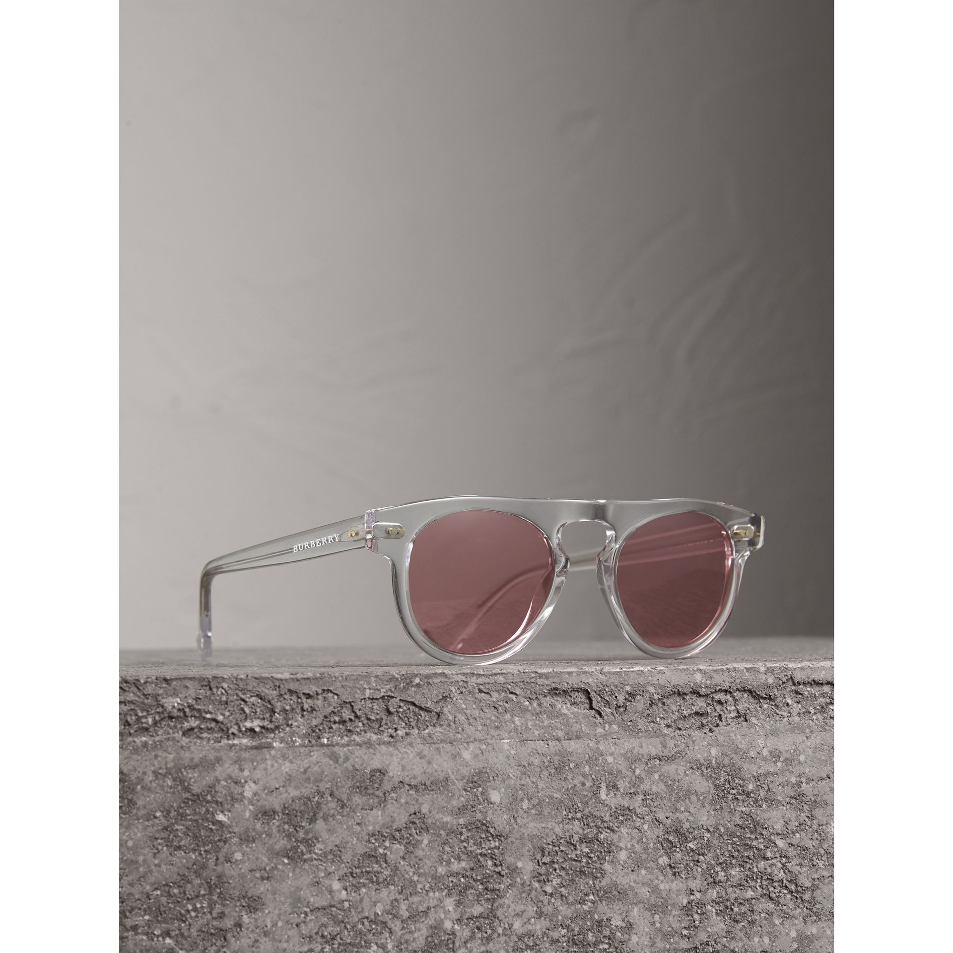 The Keyhole Round Frame Sunglasses in Crystal/pink | Burberry Australia - gallery image 1